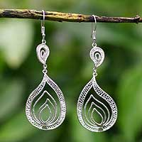 Silver dangle earrings, 'Filigree Flame'