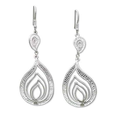 Silver dangle earrings, 'Filigree Flame' - Silver dangle earrings