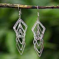 Silver dangle earrings, 'Filigree Diamonds'