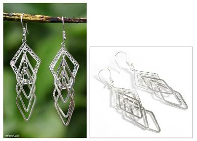 Silver dangle earrings, 'Filigree Diamonds' - Silver dangle earrings
