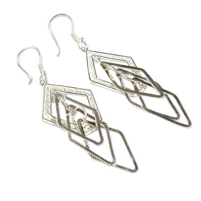 Silver dangle earrings, 'Filigree Diamonds' - Silver dangle earrings