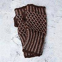 Alpaca blend fingerless mitts, 'Cinnamon Honeycomb' - Alpaca blend fingerless mitts