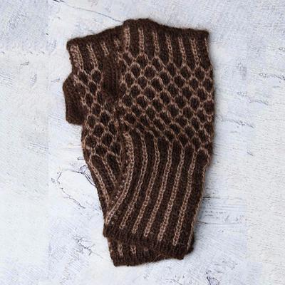 Alpaca blend fingerless mitts, 'Cinnamon Honeycomb' - Alpaca blend fingerless mitts