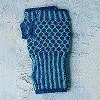 Alpaca blend fingerless mitts, 'Blueberry Honeycomb' - Alpaca blend fingerless mitts