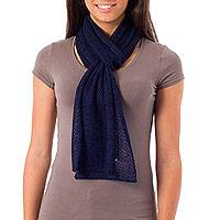 Alpaca blend scarf, 'Royal Blue' - Baby Alpaca Knit Scarf from Peru