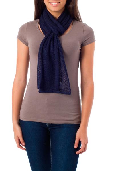 Alpaca blend scarf, 'Royal Blue' - Baby Alpaca Knit Scarf from Peru