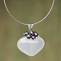 Pearl and quartz heart necklace, 'Love's Conquest' - Heart Shaped Pendant Necklace of Quartz, Pearl, and Silver