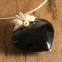 Pearl and obsidian heart necklace, 'Love's Conquest' - Pearl and obsidian heart necklace