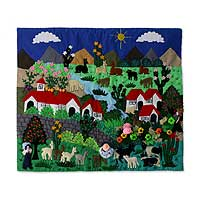 Applique wall hanging, 'Serene Sierra' - Andean Countryside Handmade Applique Folk Art Wall Hanging