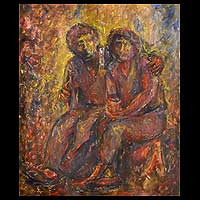 'Couple Hugging' - Romantic Painting from Peru