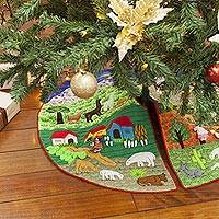 Applique Christmas tree skirt, 'Andean Christmas' - Fair Trade Christmas Cotton Applique Tree Skirt