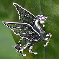 Silver filigree brooch pin, 'Pegasus Shadow' - Artisan Crafted Sterling Silver Filigree Brooch Pin