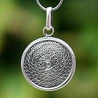 Silver filigree pendant necklace, 'Moon Shadow' - Handmade Sterling Silver Pendant Necklace