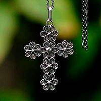 Silver filigree necklace, 'Antique Cross of Flowers'