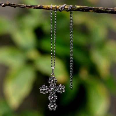 Silver filigree necklace, 'Antique Cross of Flowers' - Unique Women's Sterling Silver Filigree Cross Necklace