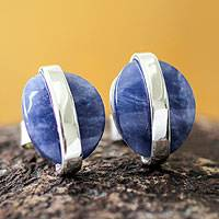 Sodalite button earrings, 'Innovate' - Modern Sterling Silver Sodalite Button Earrings from Peru