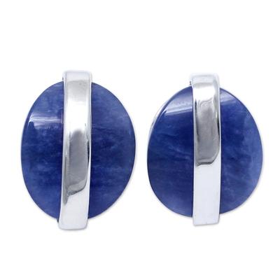 Sodalite button earrings, 'Innovate' - Modern Sterling Silver Sodalite Button Earrings from Peru