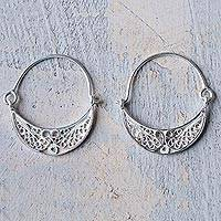Sterling silver filigree earrings, 'Fiesta'