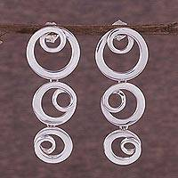 Silver dangle earrings, 'Ringlet Curls' - Sterling Silver Dangle Earrings