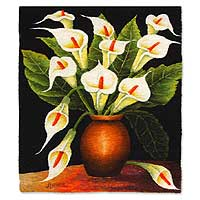 Wool tapestry, 'Vase of Calla Lilies' - Handcrafted Floral Wool Tapestry