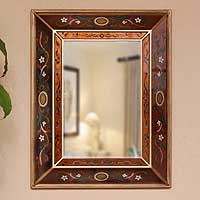 Mirror, 'Jewels' - Rectangular Wall Mirror Reverse Painted Glass from Peru