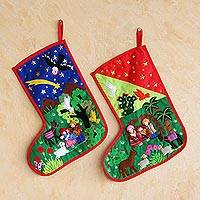 Applique Christmas stockings, 'Nativity' (pair) - Applique Christmas stockings (Pair)
