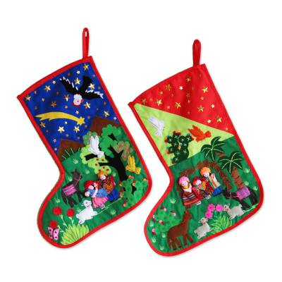 Applique Christmas stockings (Pair)