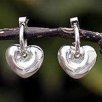 Silver heart earrings, 'Full of Love'