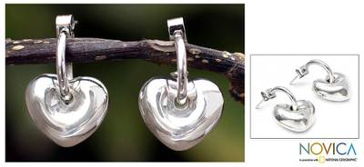 Silver heart earrings, 'Full of Love' - Silver heart earrings