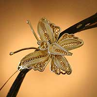 Gold vermeil filigree brooch pin, 'Wings' - Handmade Vermeil Gold Plated Filigree Butterfly Brooch Pin