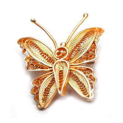 Gold vermeil filigree brooch pin, 'Wings' - Handmade Vermeil Gold Plated Filigree Butterfly Brooch Pin