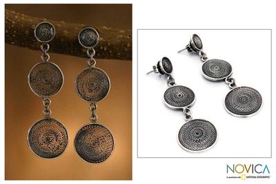 Silver filigree dangle earrings, 'Moon Shadows' - Silver filigree dangle earrings