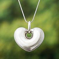 Sterling silver heart necklace, 'Full of Love' - Handmade Peruvian Fine Silver Heart Necklace