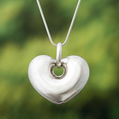 Silver heart necklace, 'Full of Love' - Handmade Peruvian Fine Silver Heart Necklace