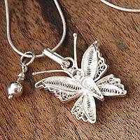 Silver filigree necklace, 'Wings'