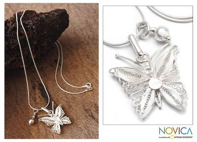 Silver filigree necklace, 'Wings' - Sterling Silver Filigree Butterfly Necklace