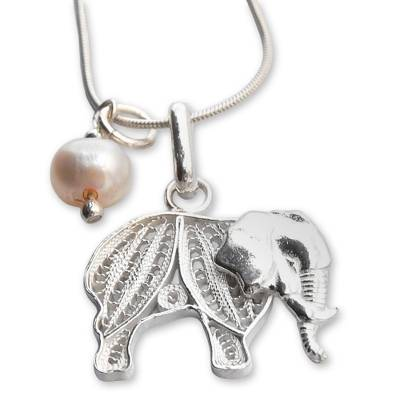 Pearl filigree necklace, 'Mighty Elephant' - Handmade Silver and Pearl Elephant Filigree Pendant Necklace