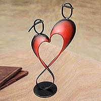 Steel and cotton statuette, 'Lassos of Love' - Handcrafted Metal Sculpture from Peru