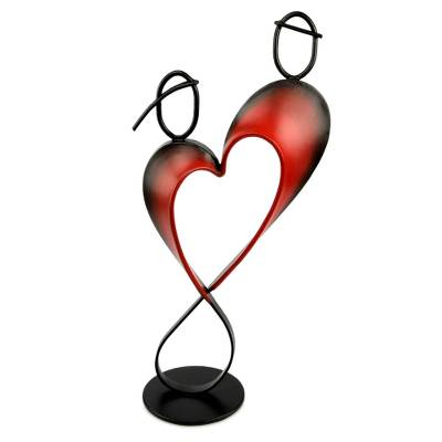Steel and cotton statuette, 'Lassos of Love' - Heart Shaped Metal Sculpture from Peru