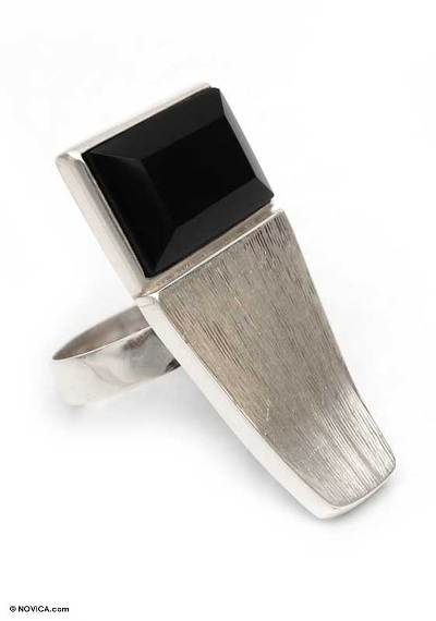 Bold Obsidian Statement Jewelry Cocktail Ring