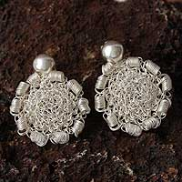 Silver drop earrings, 'Wild Roses' - Silver drop earrings