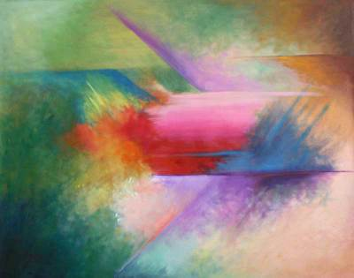 'Geometric Color Fiesta' - Abstract Oil Painting