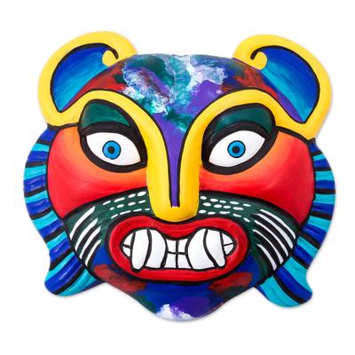 Fair Trade Ceramic Multicolor Cat Mask