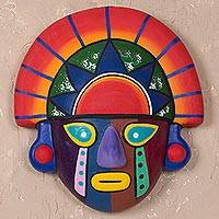 Ceramic mask, 'Royalty' - Collectible Ceramic Peruvian Clay Inca Mask