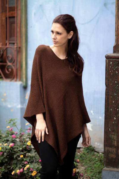 100% alpaca poncho, 'Splendid Earth' - Artisan Crafted Alpaca Wool Poncho