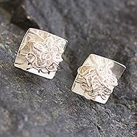 Silver button earrings, 'Flirt' - Modern Artisan Crafted Sterling Silver Button Earrings