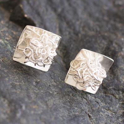 Silver button earrings, 'Flirt' - Modern Artisan Crafted Sterling Silver Button Earrings