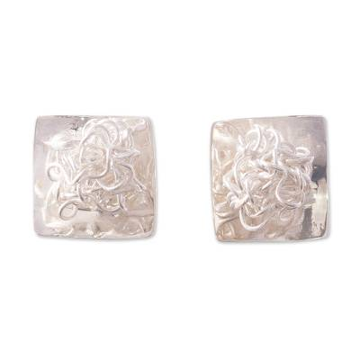Modern Artisan Crafted Sterling Silver Button Earrings