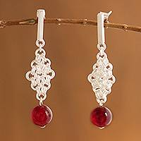 Agate dangle earrings, 'Lady Love' - Agate dangle earrings