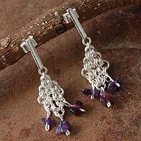 Amethyst dangle earrings, 'Pompom' - Amethyst dangle earrings